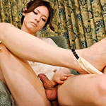 Short hair newhalf beauty with long silky smooth legs and a rock hard cock